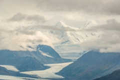 DSC1842 - Mountains and a glacier, shrouded in clouds, as seen from the Glenn Highway, Alaska