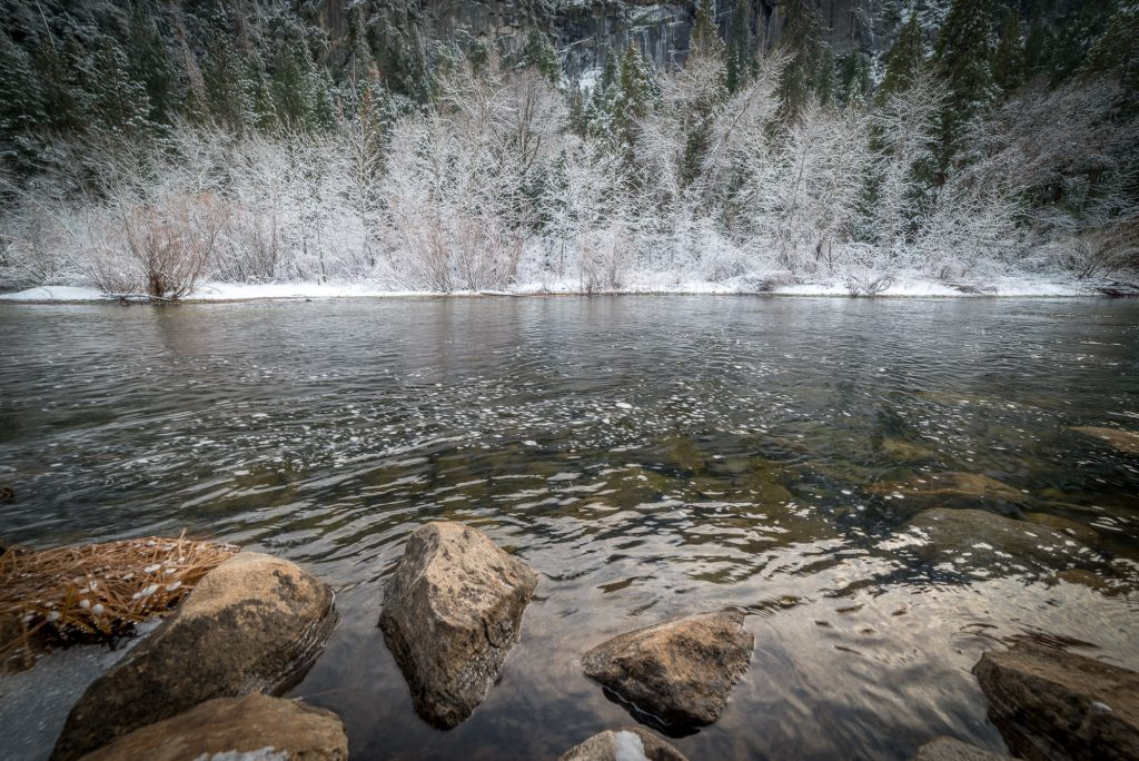 Merced River in Yosemite Valley in Winter
