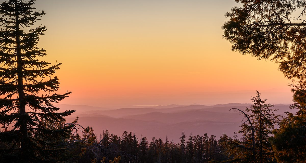 Image of a sunset scene in the Stanislaus National Forest, Tuolumne County