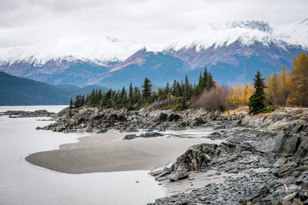 Photo of the mountains across the bay along Turnagain Arm, Alaska